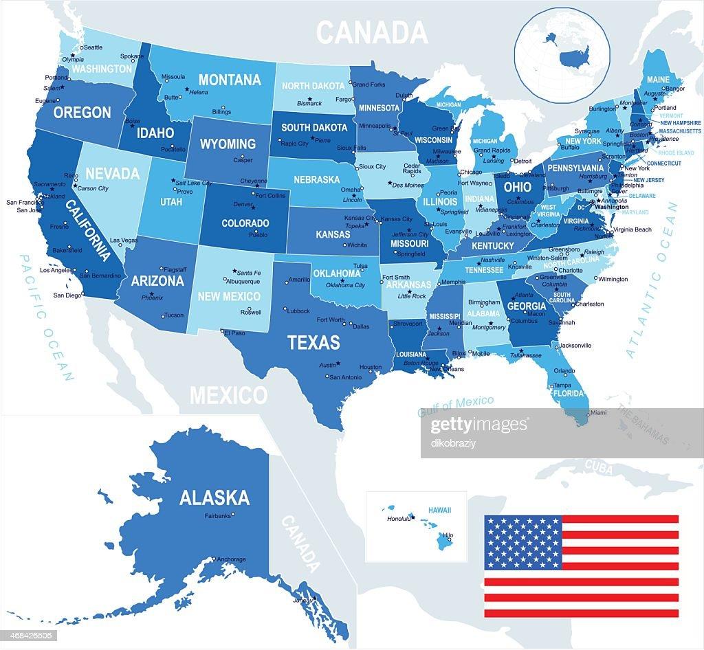 United States (USA) - map and flag - illustration