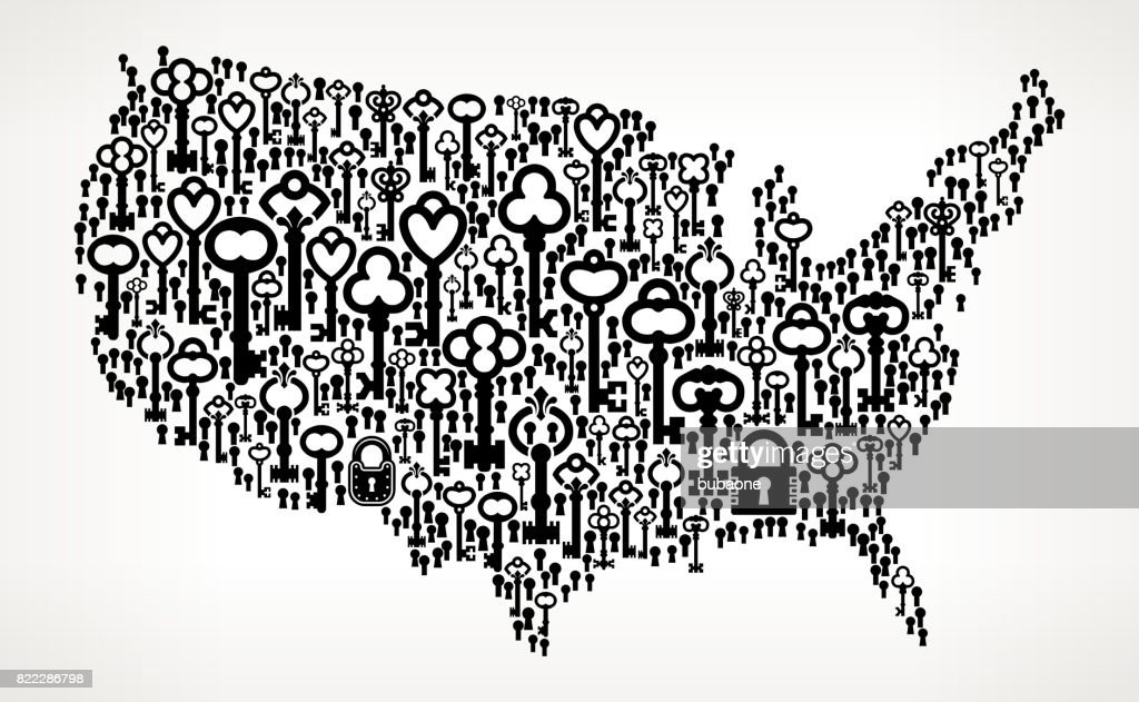 United States Map Antique Keys Black and White Vector Pattern : stock illustration