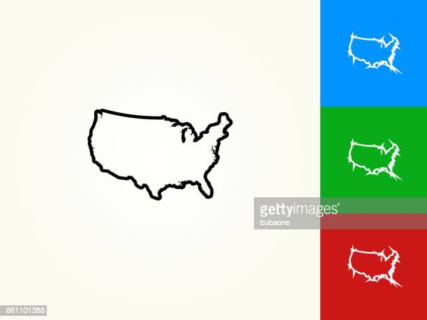 united states map black stroke linear icon - werkzeug stock illustrations