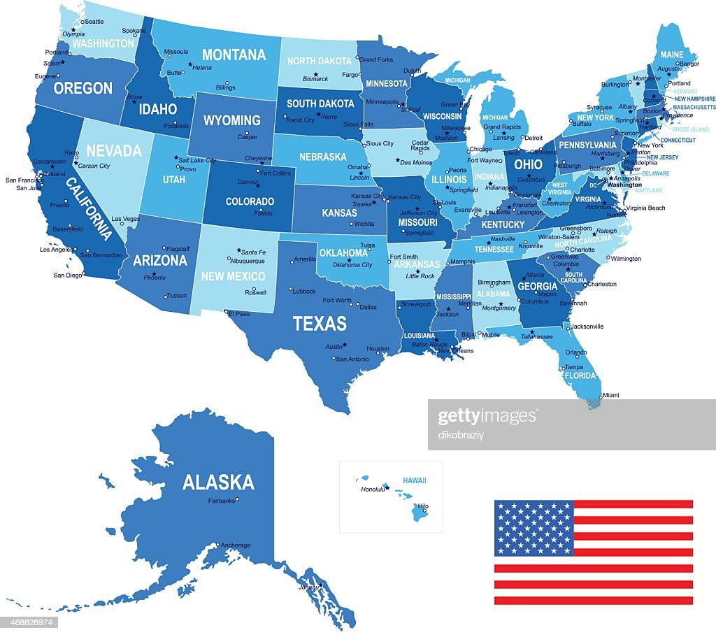 United States (USA) - map, flag and navigation icons - illustration : Vector Art