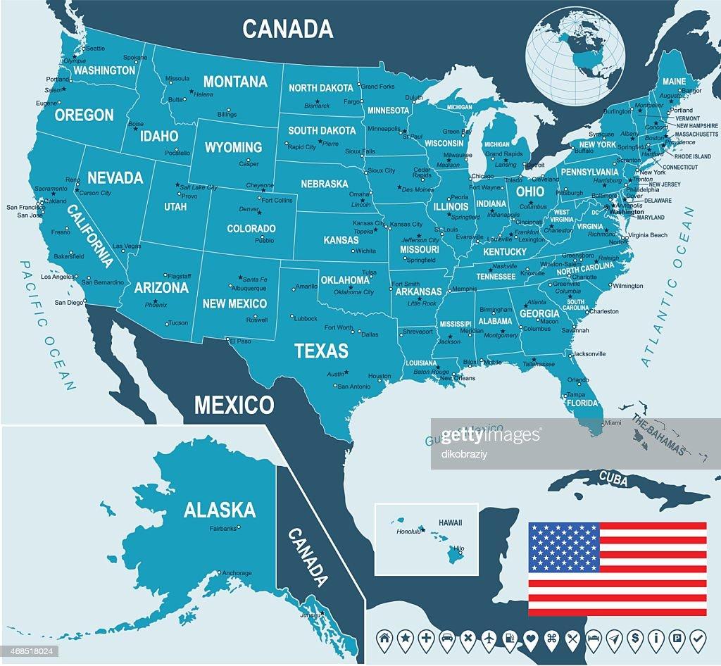 United States (USA) - map, flag and navigation labels - illustration