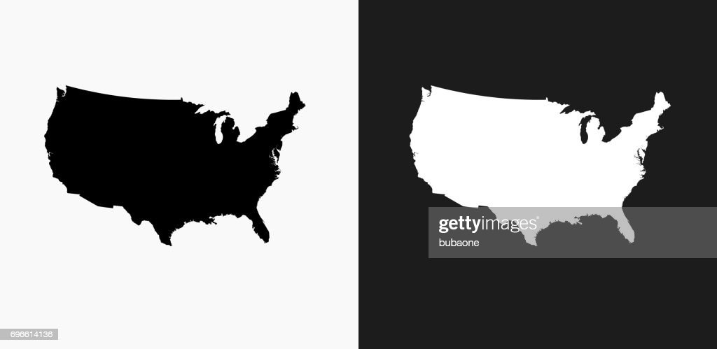 United States Map Icon on Black and White Vector Backgrounds : stock vector