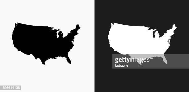 United States Map Icon on Black and White Vector Backgrounds