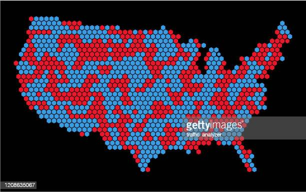六角形で作られた米国の地図 - 選挙人団点のイラスト素材/クリップアート素材/マンガ素材/アイコン素材