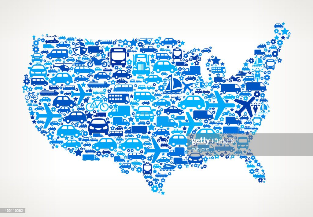 United States Map On Transportation Royalty Free Vector Art Pattern ...