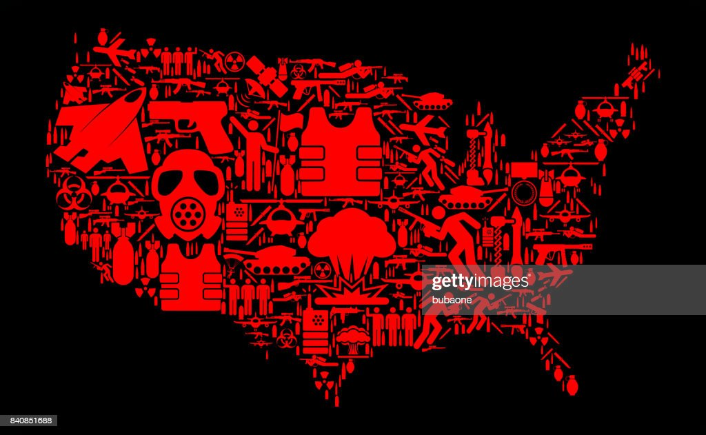 Modern Us Map.United States Map War And Modern Warfare Vector Icon Pattern Vector