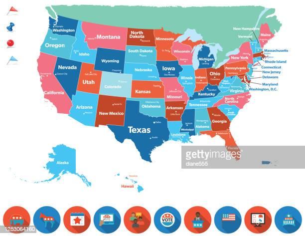 stockillustraties, clipart, cartoons en iconen met verenigde staten kaart met hoofdsteden en stemmen pictogrammen - amerikaanse presidentsverkiezingen