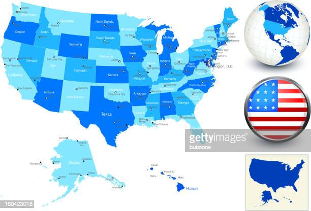 United States Map with state outlines and flag button