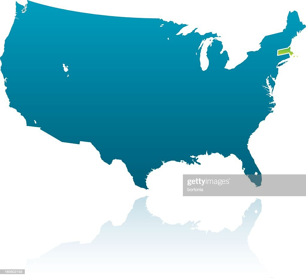 United States Maps Massachusetts Vector Art Getty Images - Us map massachusetts