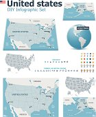 United States maps with markers