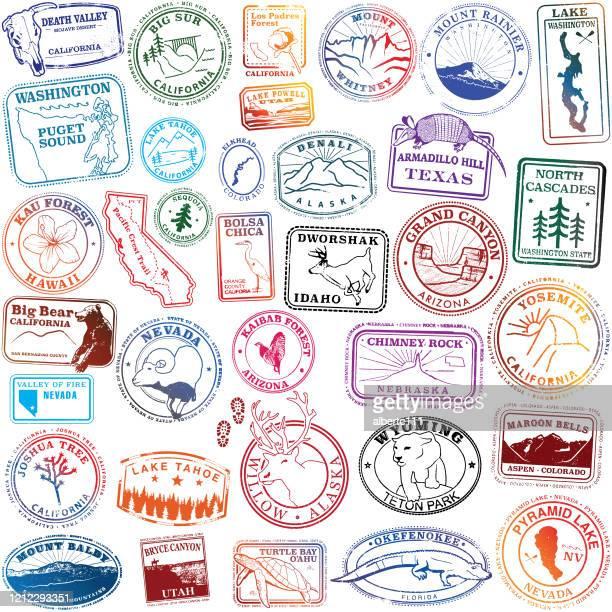 united states natural landmark stamps - maroon bells stock illustrations