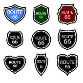 United States Numdered Sign 66 Route Isolated on White Background. Highway Emblems Collection. Travel USA Labels.