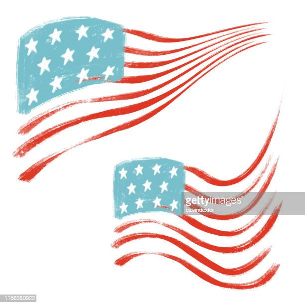 united states of america flag for 4th of july hand drawn - bill of rights stock illustrations