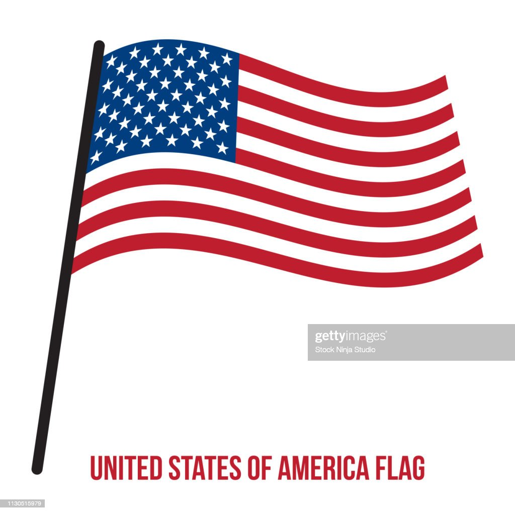 United States of America Flag Waving Vector Illustration on White Background. Flag of the United States of America.