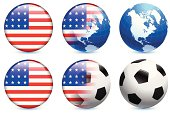 United States of America Flag with Soccer ball and Globe