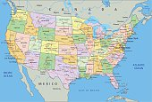 United States of America - Highly detailed editable political map.