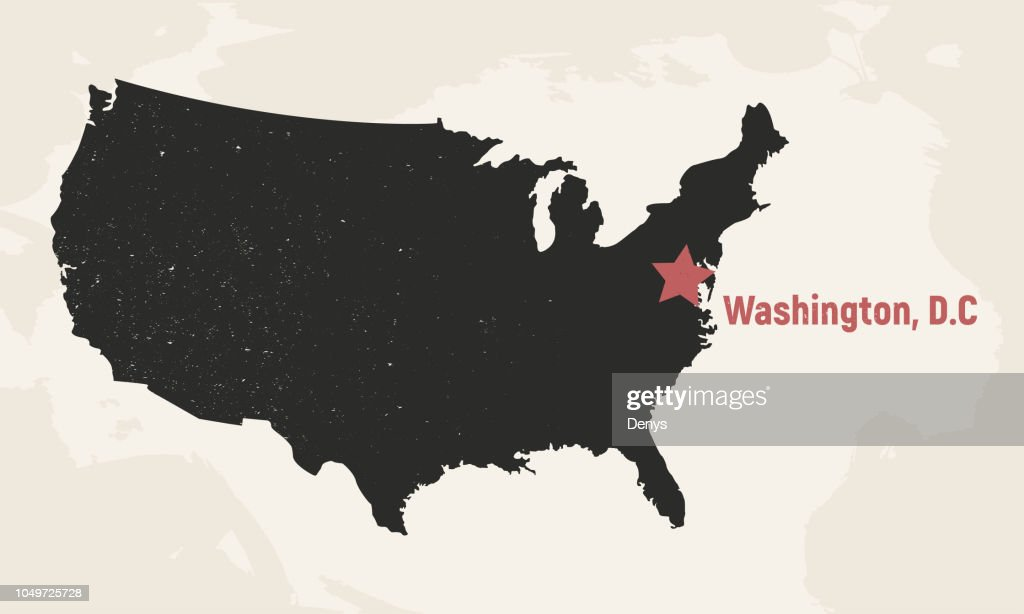 United States of America map. USA map with Capital. Poster map of USA. Vintage design. Vector illustration
