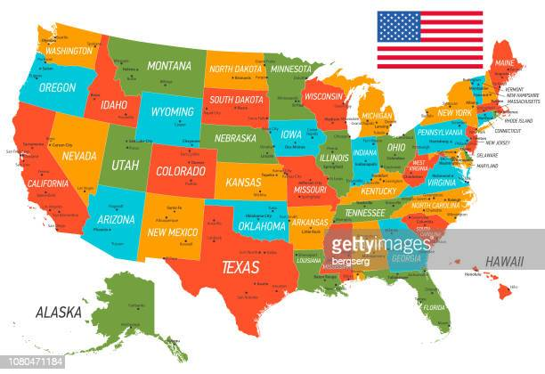 united states of america map. vector map with states and national flag - american culture stock illustrations