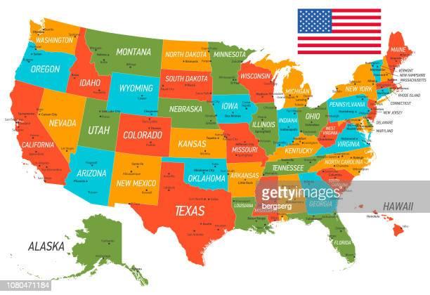 ilustrações, clipart, desenhos animados e ícones de mapa da estados unidos da américa. mapa de vetor com estados e bandeira nacional - cultura americana
