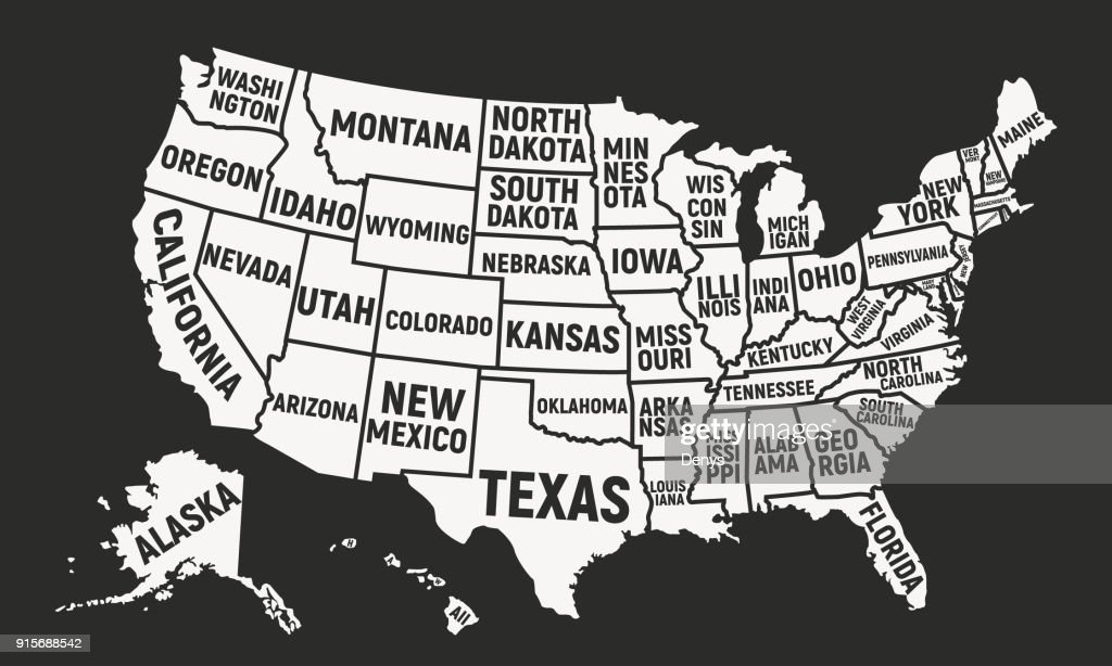 United States of America map with state names. USA background. Vector illustration