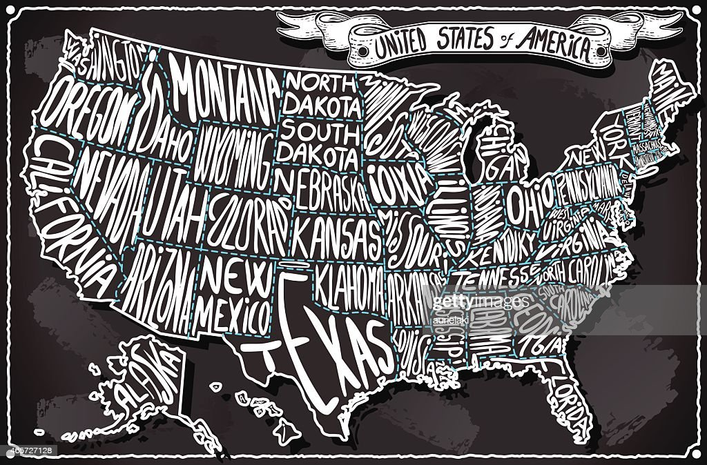 United States of America on Vintage Handwriting BlackBoard