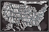 United States of America on Vintage Handwriting BlackBoard