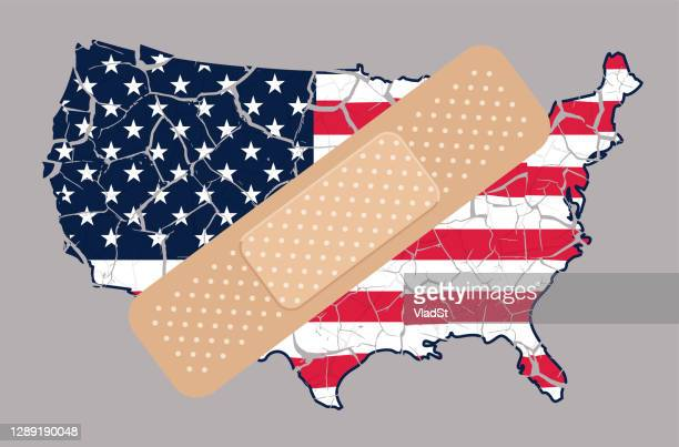 united states of america politics concept shattered cracked grunge usa flag map - division stock illustrations