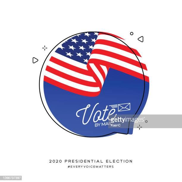 ilustrações, clipart, desenhos animados e ícones de eleições presidenciais dos estados unidos da américa 2020. vote por correio. ilustração de estoque de vetores - presidente