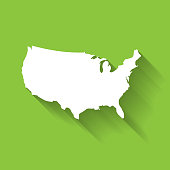 United States of America, USA, white map silhouette with gradient long shadow effect isolated on green background. Simple flat vector illustration