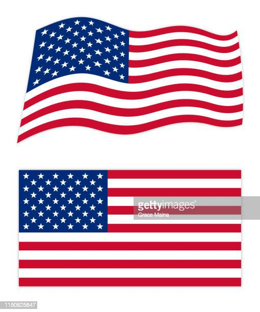 united states of america wavy and flags - amerikanische flagge stock-grafiken, -clipart, -cartoons und -symbole
