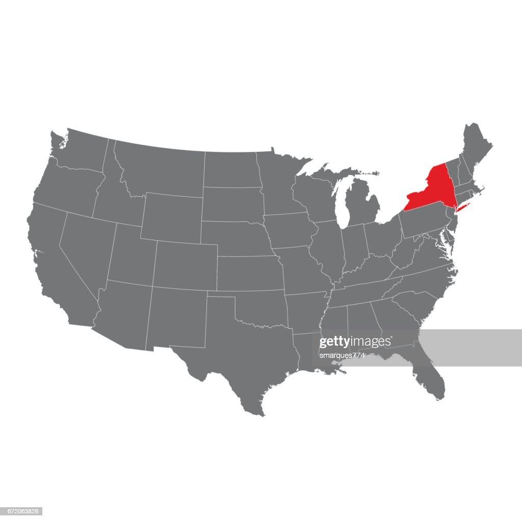 Amerika Karte New York.Vereinigte Staaten Von Amerika Mit New York Markierte Karte Stock