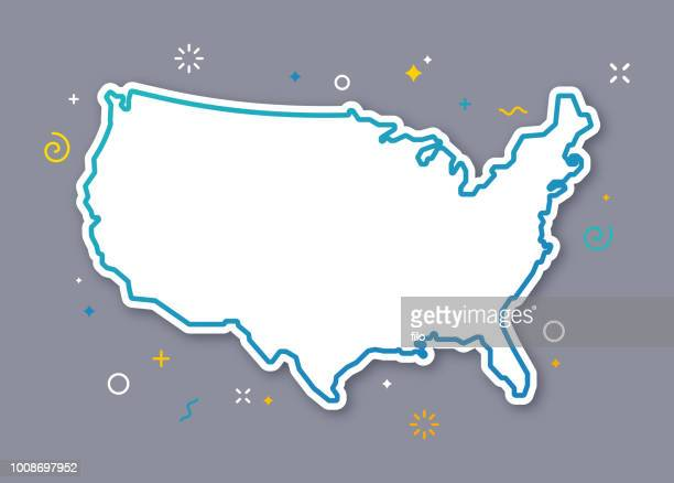 united states outline map - map stock illustrations