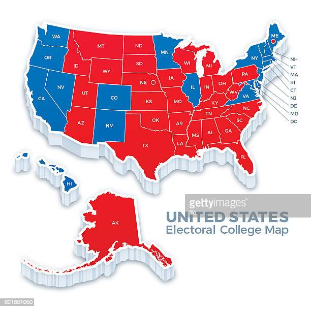 united states presidential election electoral college map 2016 - us state border stock illustrations, clip art, cartoons, & icons