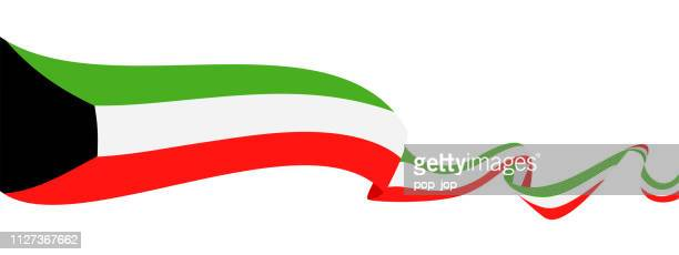 25 - united states - ribbon waving flat - kuwait stock illustrations, clip art, cartoons, & icons