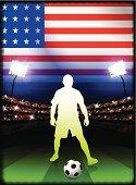United States Soccer Player on Stadium Background
