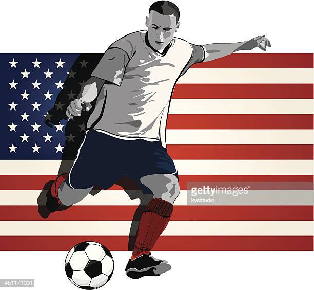 united states soccer player - heading the ball stock illustrations