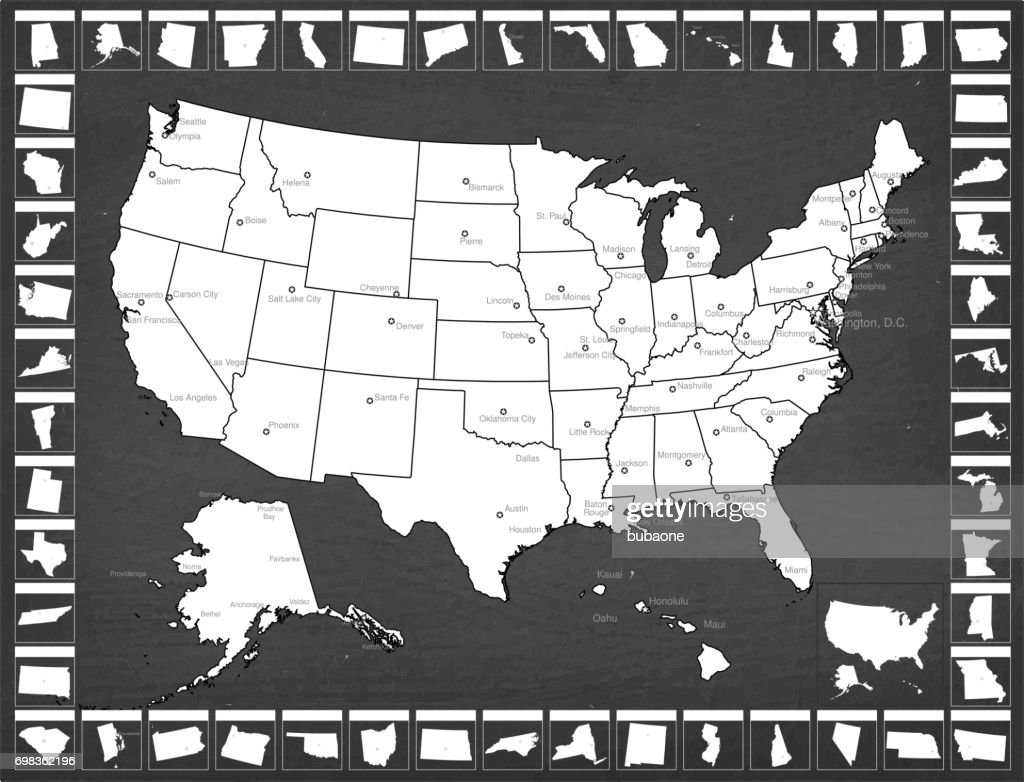 United States State Map With Capitals And Cities High-Res ...