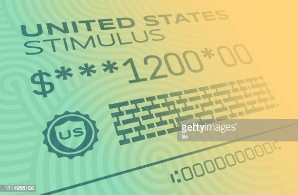 united states stimulus payment - financial bill stock illustrations