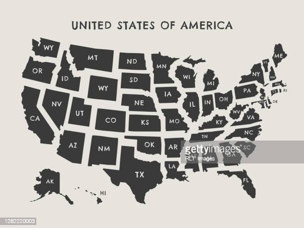 ilustraciones, imágenes clip art, dibujos animados e iconos de stock de ilustración de mapa vectorial de estados unidos con etiquetas de estado - maryland us state
