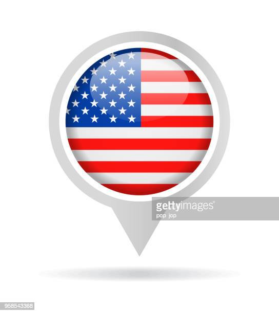 united states - vector round flag pin glossy icon - brooch stock illustrations