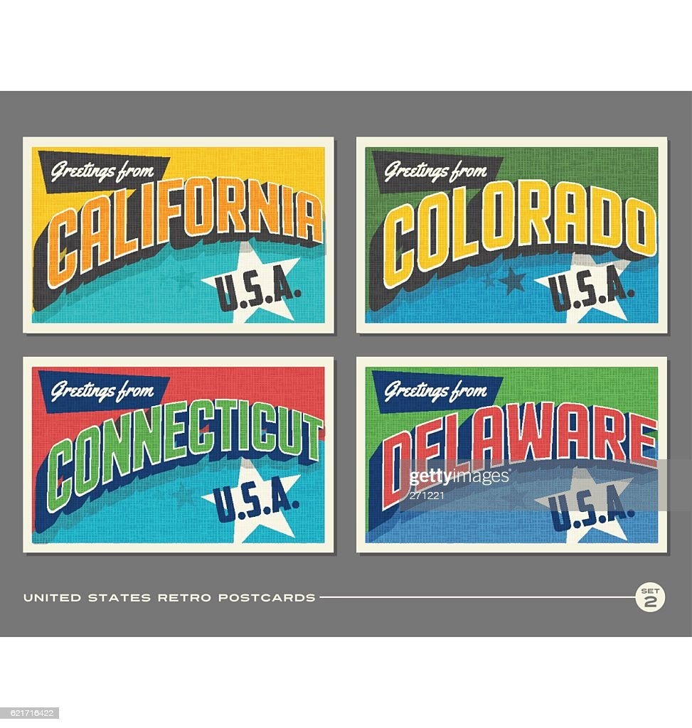 United States vintage typography postcards featuring California, Colorado, Connecticut, Delaware