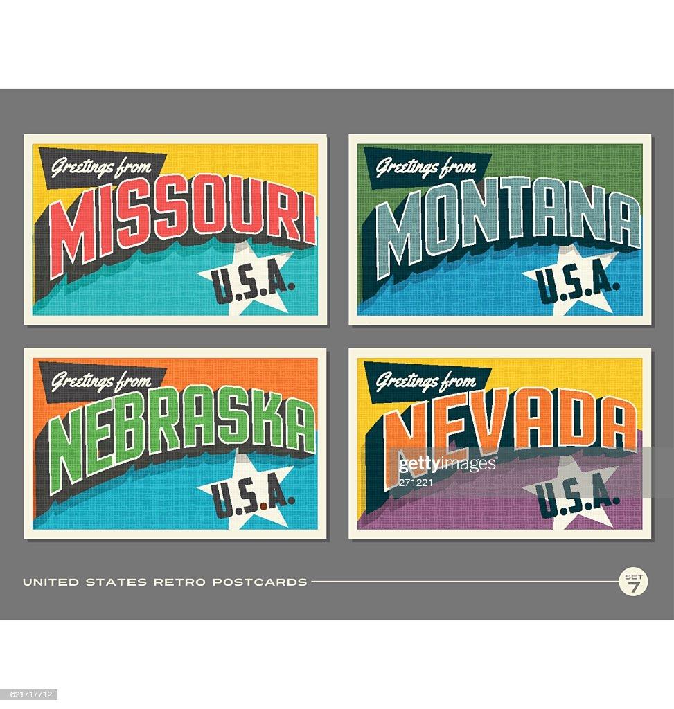 United States vintage typography postcards featuring Missouri, Montana, Nebraska, Nevada