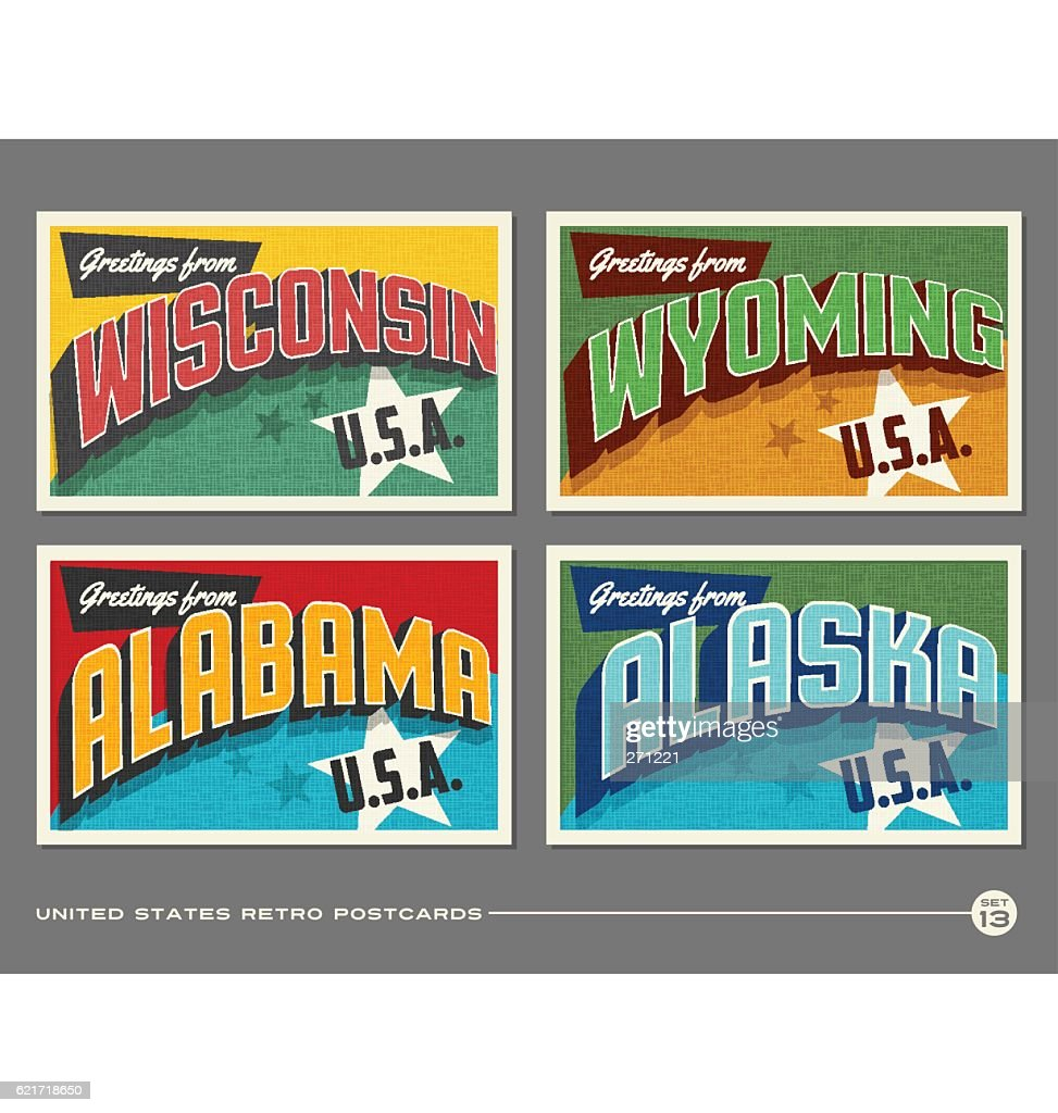 United States vintage typography postcards featuring Wisconsin, Wyoming, Alabama, Alaska