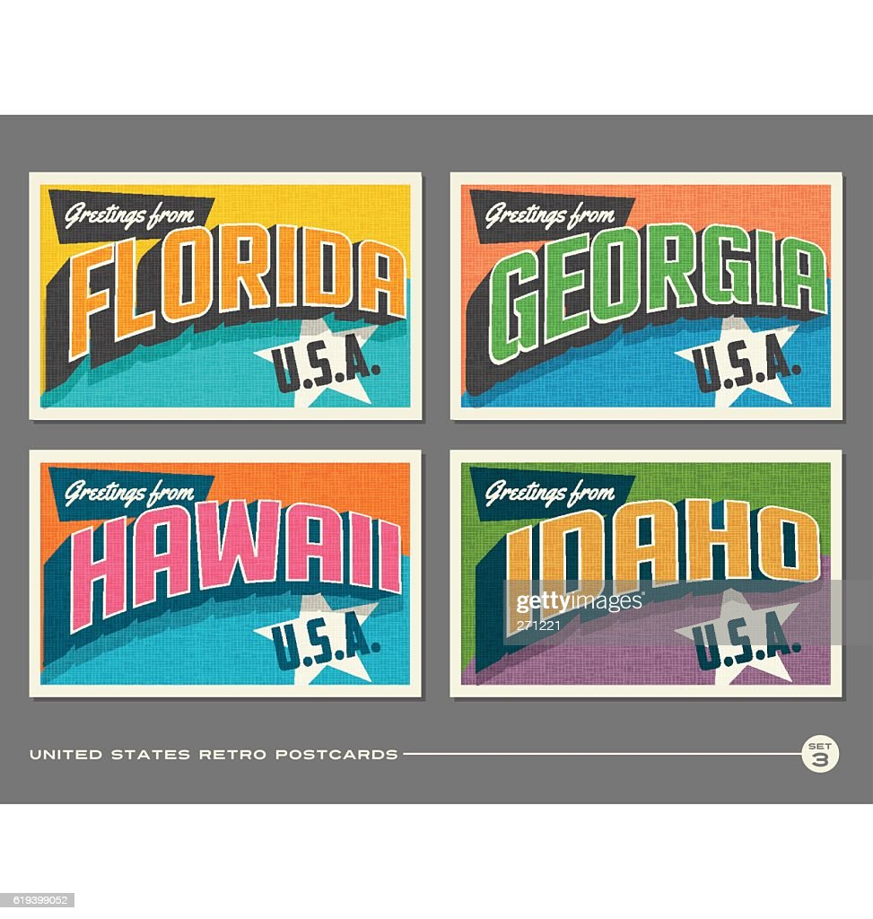United States vintage typography postcards. Florida, Georgia, Hawaii, Idaho