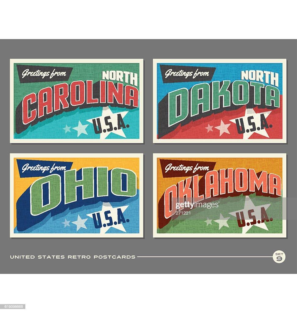 United States vintage typography postcards. North Carolina, North Dakota, Ohio, Oklahoma,