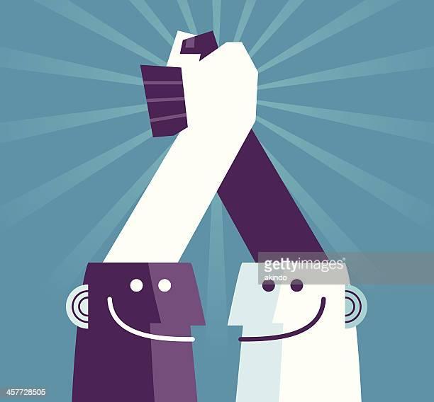 unity ist kraft - hände verschränken stock-grafiken, -clipart, -cartoons und -symbole