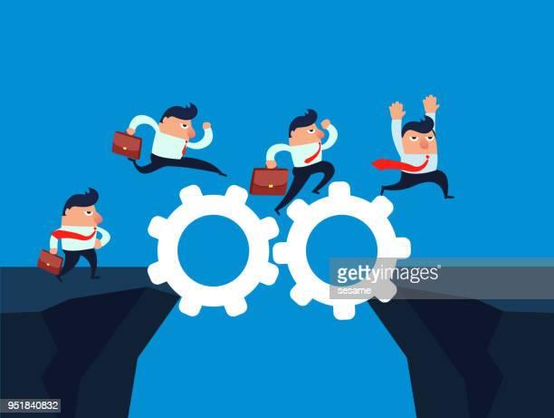 ilustraciones, imágenes clip art, dibujos animados e iconos de stock de unidad permite comerciantes pasan el acantilado - agilidad