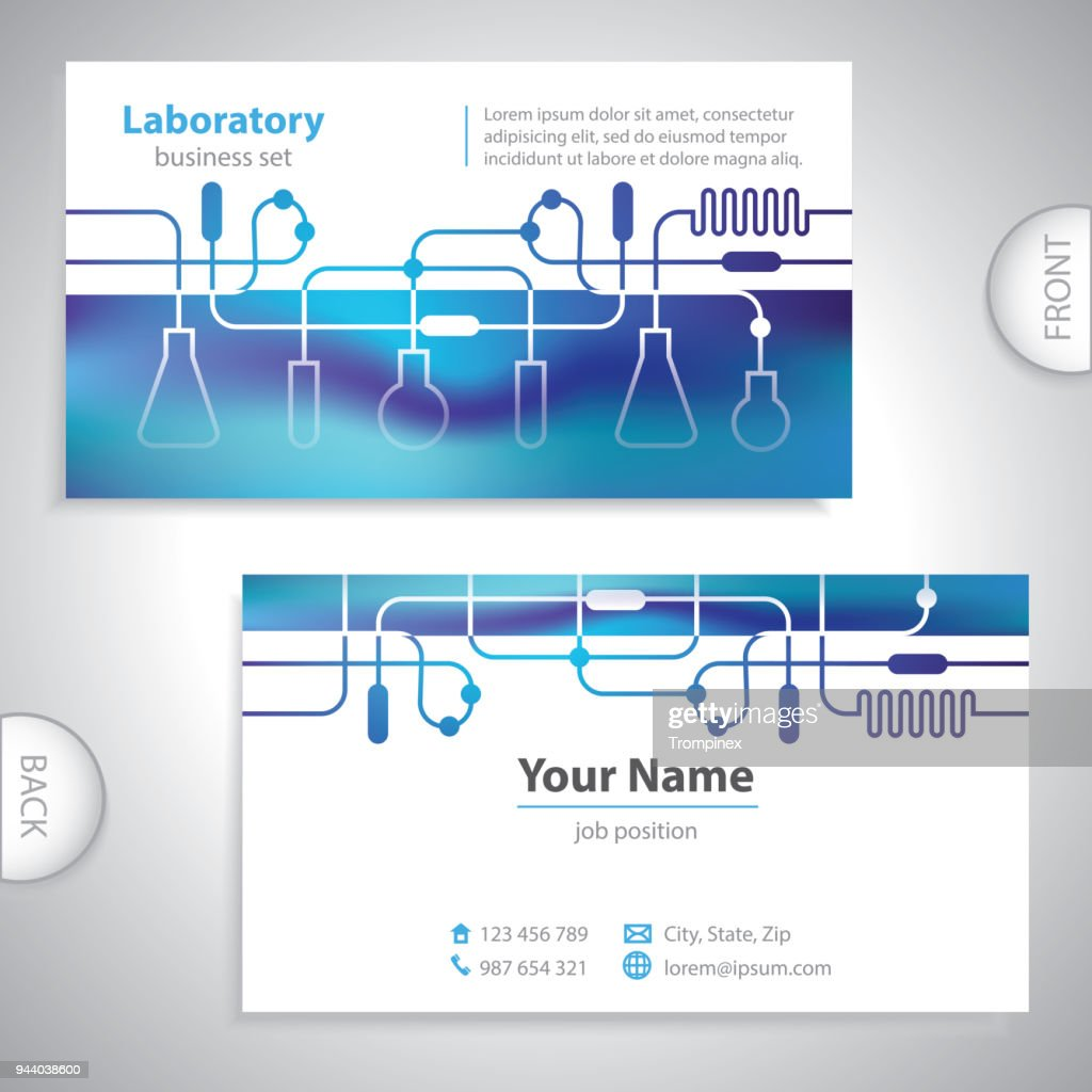 Universal bluish medical laboratory business card.