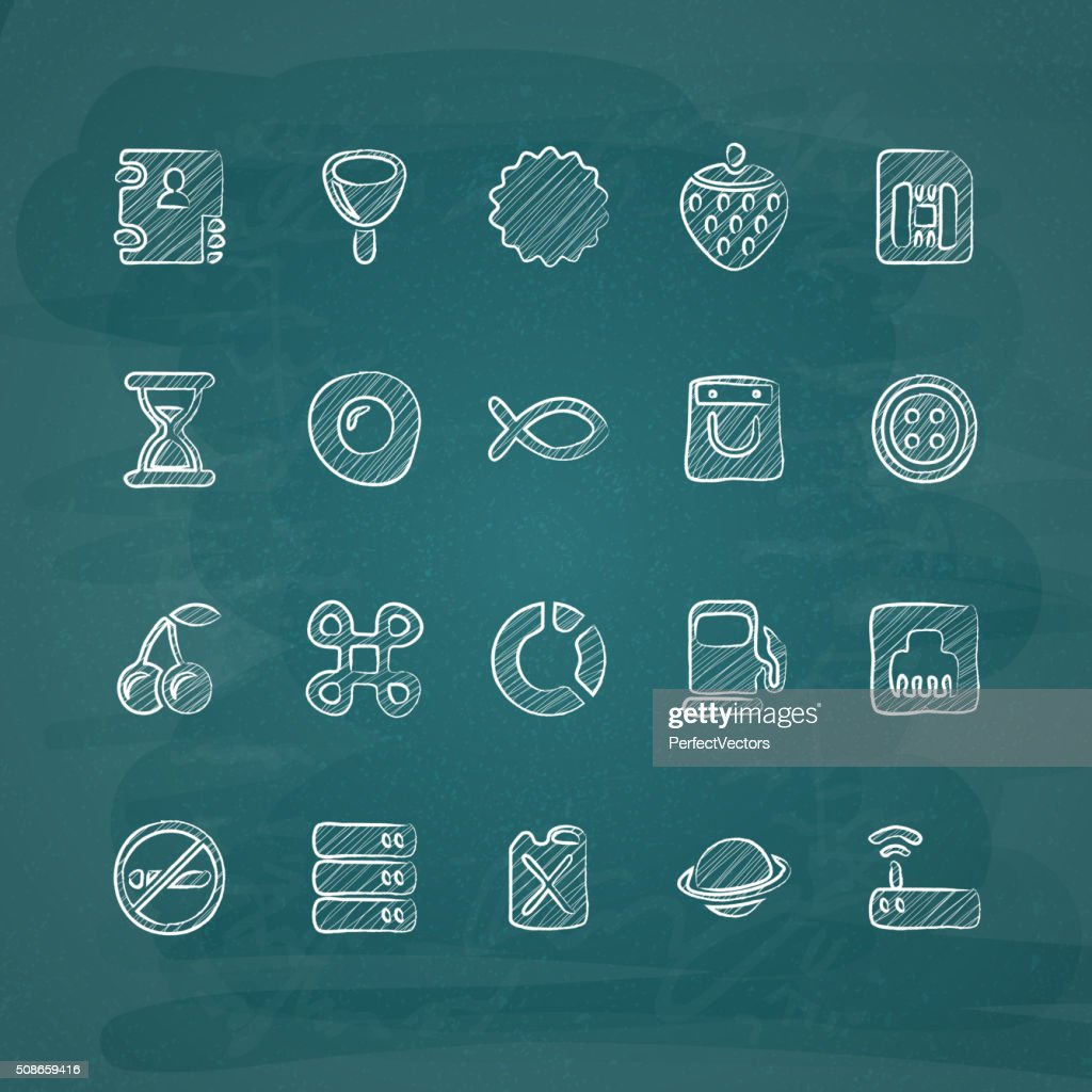 Universal Chalk Icons in doodle style 16 : Vector Art