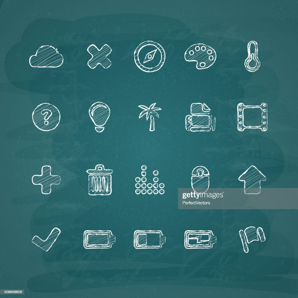 Universal Chalk Icons in doodle style 2 : Vector Art